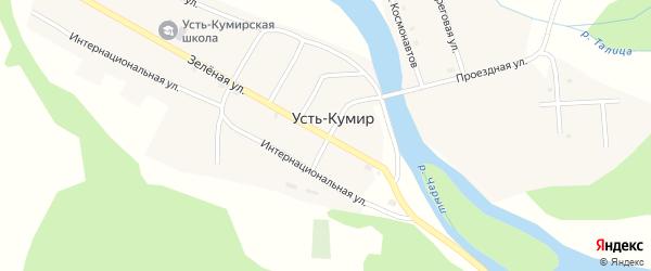 Зеленая улица на карте села Усть-Кумира Алтая с номерами домов