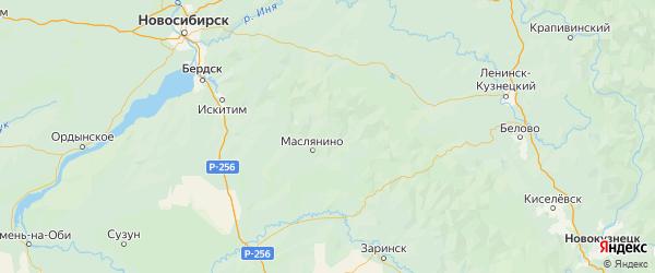 Карта Маслянинского района Новосибирской области с городами и населенными пунктами