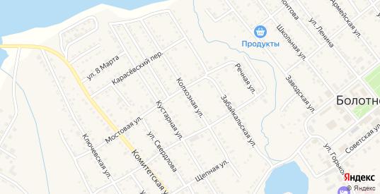 Колхозная улица в Болотном с номерами домов на карте. Спутник и схема онлайн