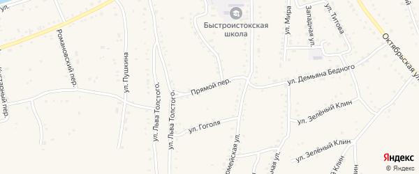 Прямой переулок на карте села Быстрого Истока с номерами домов