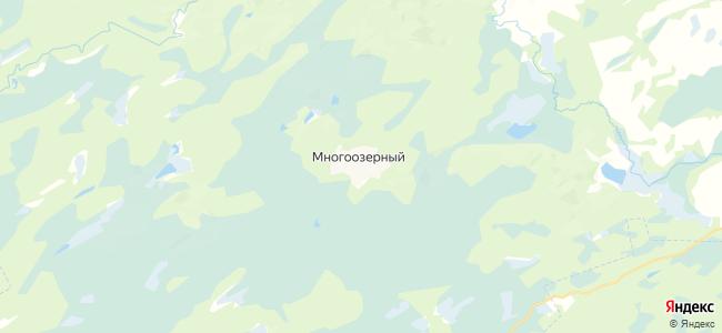 Многоозерный на карте