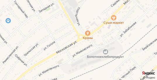 Московская улица в Болотном с номерами домов на карте. Спутник и схема онлайн