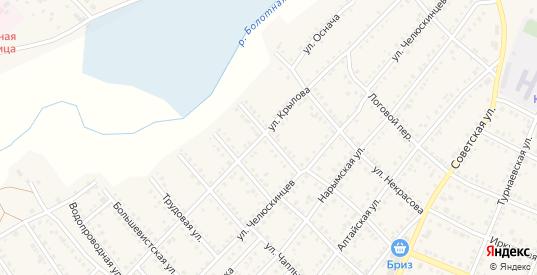 Ударная улица в Болотном с номерами домов на карте. Спутник и схема онлайн