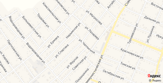 Улица Чаплыгина в Болотном с номерами домов на карте. Спутник и схема онлайн