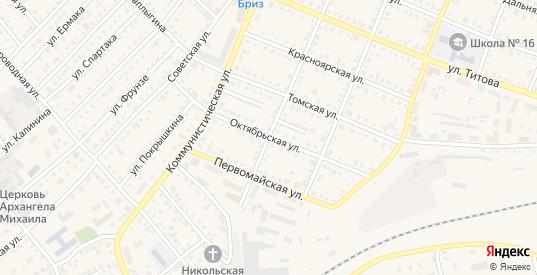 Октябрьская улица в Болотном с номерами домов на карте. Спутник и схема онлайн