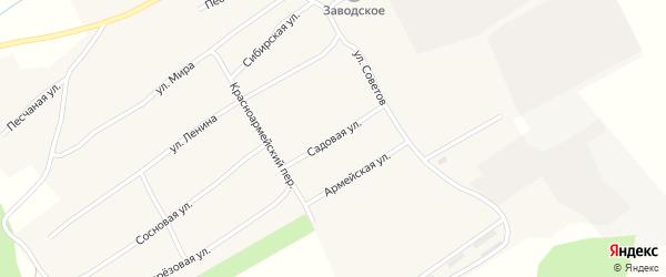 Садовая улица на карте Заводского села Алтайского края с номерами домов