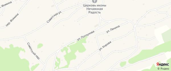 Улица Ползунова на карте села Боровлянки Алтайского края с номерами домов