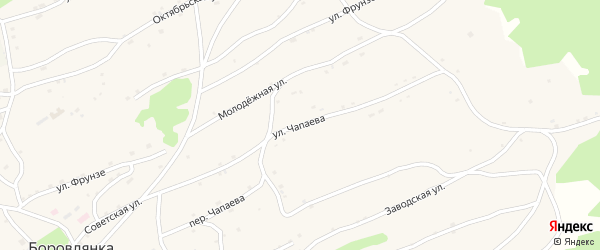 Улица Чапаева на карте села Боровлянки с номерами домов