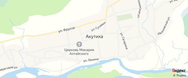 Карта села Акутихи в Алтайском крае с улицами и номерами домов
