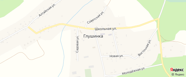 Песчаная улица на карте села Глушинка с номерами домов