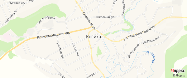 Карта села Косихи в Алтайском крае с улицами и номерами домов