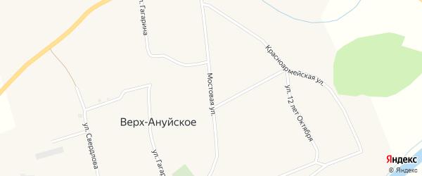 Мостовая улица на карте Верха-Ануйского села с номерами домов