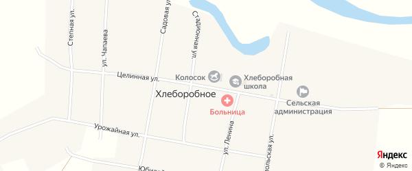 Целинная улица на карте Хлеборобного села с номерами домов
