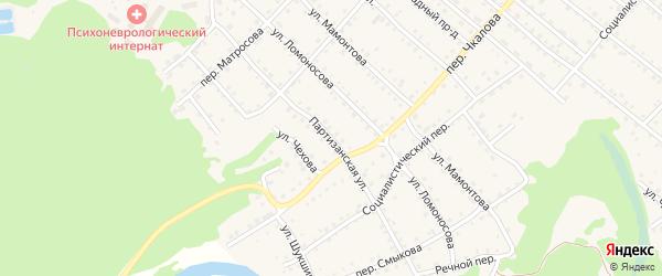 Партизанская улица на карте Троицкого села Алтайского края с номерами домов