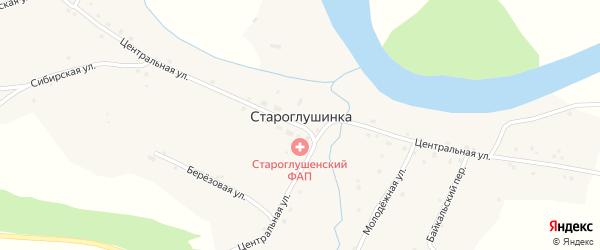 Центральная улица на карте села Староглушинки с номерами домов