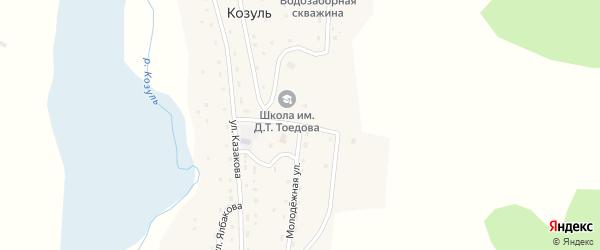 Молодежная улица на карте села Козуля Алтая с номерами домов