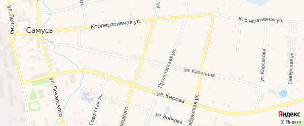 Улица Калинина на карте поселка Самуси с номерами домов
