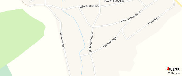 Улица Брейтмана на карте села Комарово с номерами домов