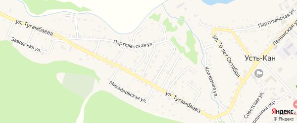 Переулок 3-й Тугамбаева на карте села Усть-Кана Алтая с номерами домов