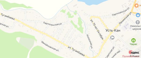 Переулок 2-й Тугамбаева на карте села Усть-Кана Алтая с номерами домов