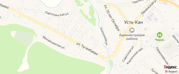 Набережная улица на карте села Усть-Кана Алтая с номерами домов