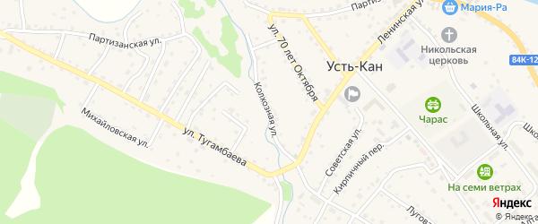 Колхозная улица на карте села Усть-Кана Алтая с номерами домов