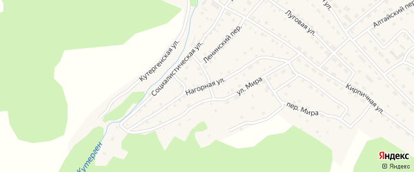 Нагорная улица на карте села Усть-Кана Алтая с номерами домов