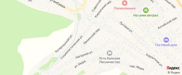 Ленинский переулок на карте села Усть-Кана Алтая с номерами домов