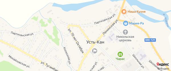 Зеленая улица на карте села Усть-Кана Алтая с номерами домов
