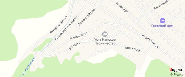Улица Мира на карте села Усть-Кана с номерами домов