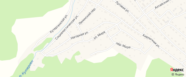 Улица Мира на карте села Усть-Кана Алтая с номерами домов