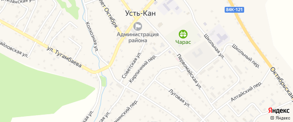 Кирпичный переулок на карте села Усть-Кана Алтая с номерами домов