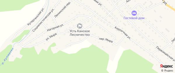 Переулок Мира на карте села Усть-Кана Алтая с номерами домов