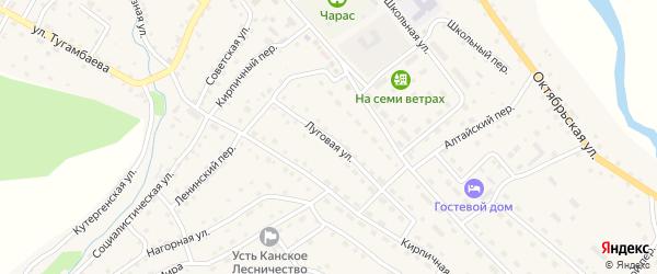 Луговая улица на карте села Усть-Кана Алтая с номерами домов