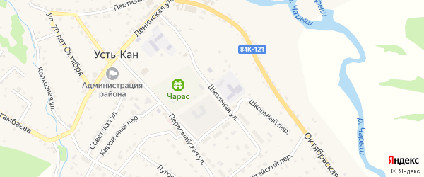 Школьная улица на карте села Усть-Кана Алтая с номерами домов