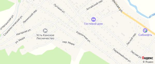Кирпичная улица на карте села Усть-Кана Алтая с номерами домов