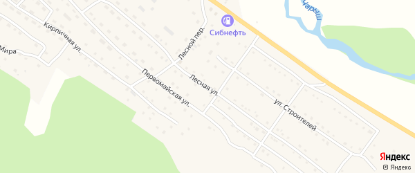 Лесная улица на карте села Усть-Кана Алтая с номерами домов