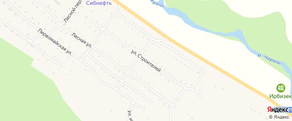 Улица Строителей на карте села Усть-Кана Алтая с номерами домов