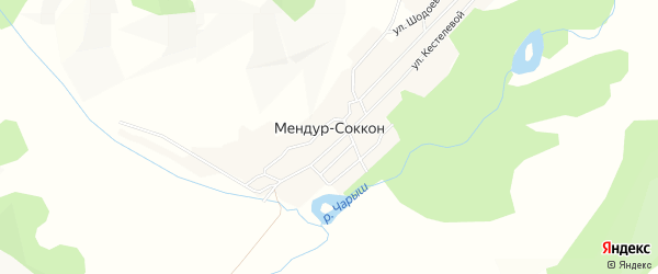 Карта села Мендура-Соккона в Алтае с улицами и номерами домов