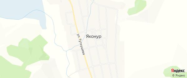 Карта села Яконура в Алтае с улицами и номерами домов