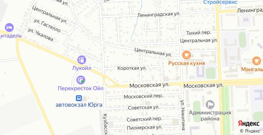 Короткая улица в Юрге с номерами домов на карте. Спутник и схема онлайн