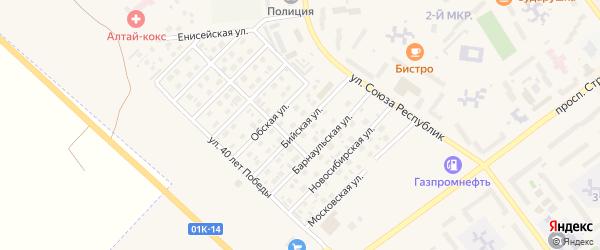 Бийская улица на карте Заринска с номерами домов