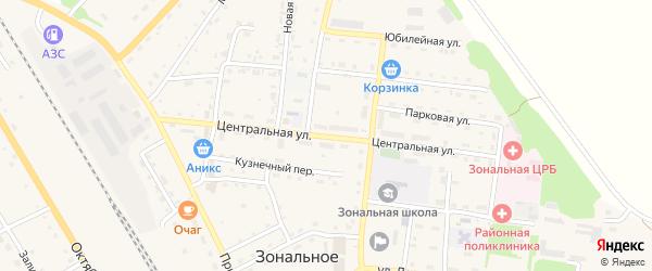 Центральная улица на карте Зонального села с номерами домов