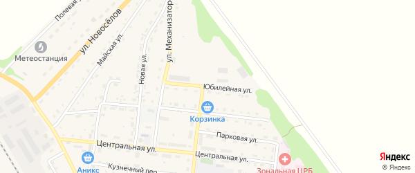 Юбилейная улица на карте Зонального села с номерами домов