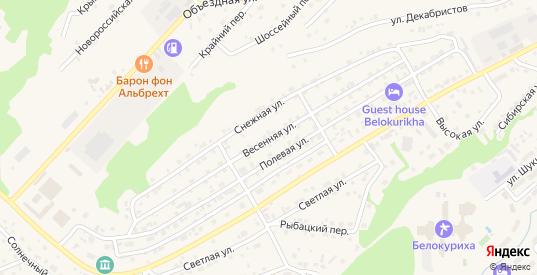 Весенняя улица в Белокурихе с номерами домов на карте. Спутник и схема онлайн