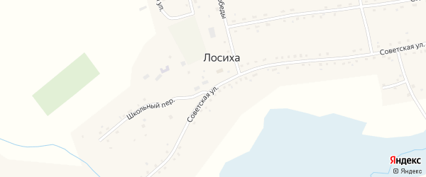 Советская улица на карте села Лосихи Алтайского края с номерами домов