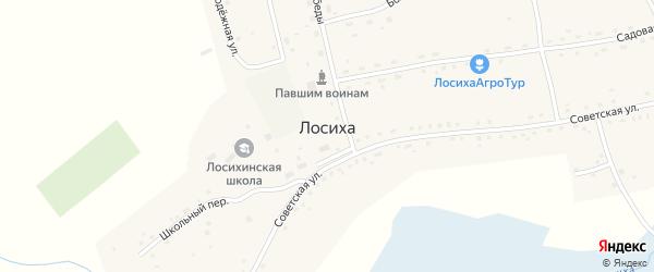 Заозерная улица на карте села Лосихи с номерами домов