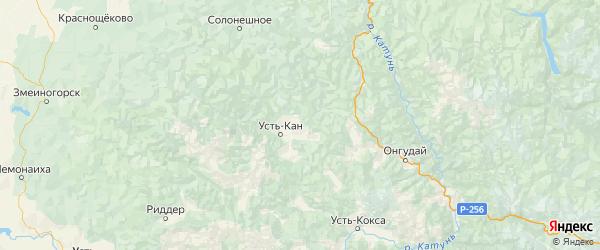 Карта Усть-канского района Республики Алтая с городами и населенными пунктами