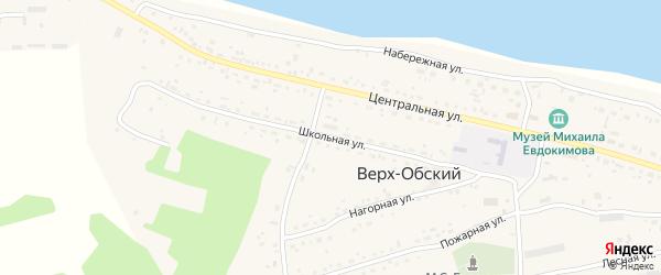 Школьная улица на карте Верха-Обского поселка с номерами домов