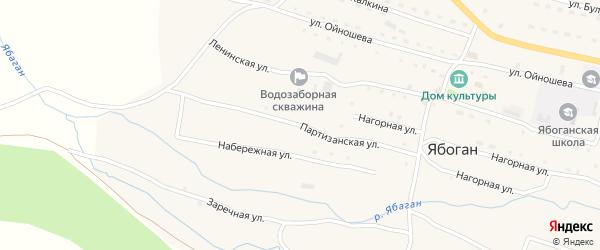 Партизанская улица на карте села Ябогана Алтая с номерами домов
